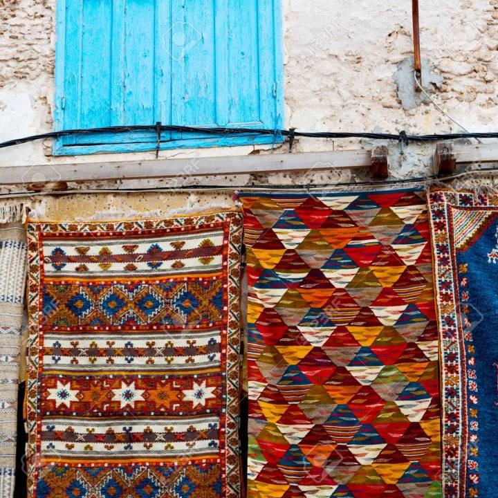 blue window in morocco africa old construction and brown wall re